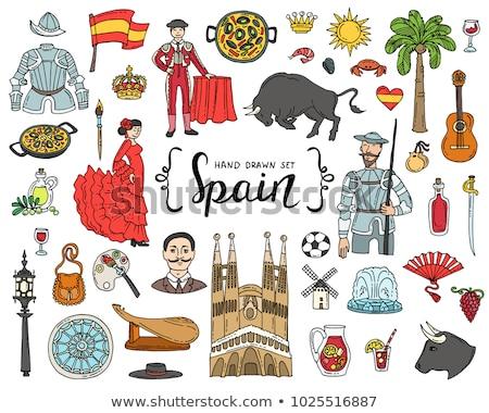 coloré · doodle · espagnol · vin · vin · rouge · servi - photo stock © Porteador