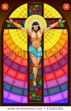 vitray · pencere · haç · kilise · eski · iç - stok fotoğraf © nelsonart