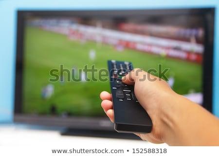 Sport nagyfelbontású televízió illusztráció két férfi néz Stock fotó © izakowski