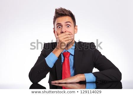 Işadamı el ağız kurumsal sürpriz bir kişi Stok fotoğraf © bmonteny