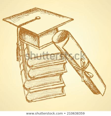 Schets dek boeken hoed top papyrus Stockfoto © kali