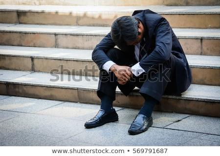 Stresli işadamı açık havada depresyon el alın Stok fotoğraf © stockyimages