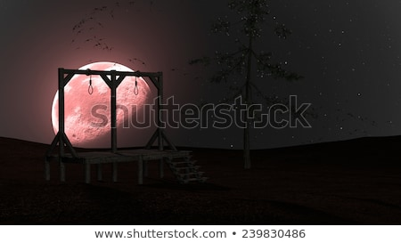 Spooky Night background with Gallows, Crows and Red Moon Stock photo © ankarb