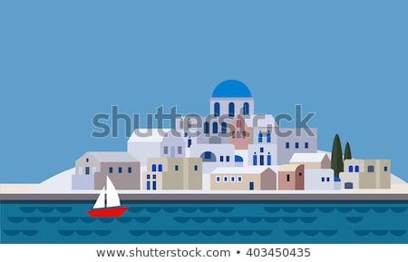 Сток-фото: греческий · мало · Церкви · скамейке · морем