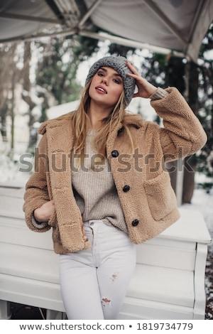 kobieta · ciepłe · ubrania · odizolowany · biały · dziewczyna · szczęśliwy - zdjęcia stock © kurhan