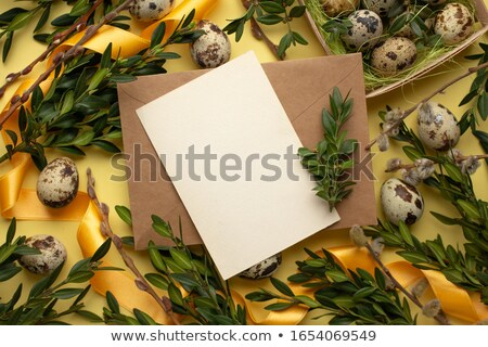 Easter composition of eggs, catkins and boxwood Stock photo © przemekklos