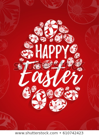 Stok fotoğraf: Red Happy Easter Poster With Egg