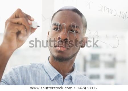 Gericht zakenman schrijven hand kin witte Stockfoto © wavebreak_media