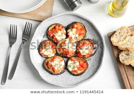 Gebakken aubergine kaas saus witte plaat Stockfoto © master1305