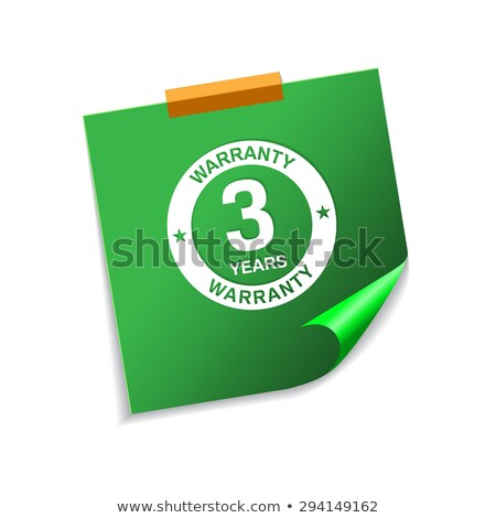 3 years warranty green sticky notes vector icon design stock photo © rizwanali3d