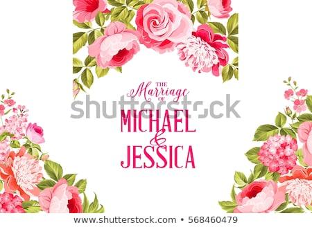 Stock fotó: Virágmintás · keret · szívek · kép · illusztráció · kék