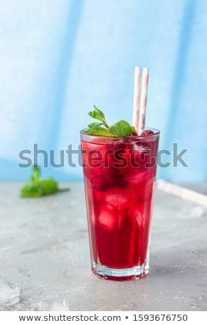 Fagyott hibiszkusz tea piros márvány tányér Stock fotó © maxsol7