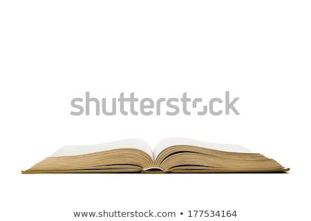 Black pen on white open book, on white background. stock photo © teerawit