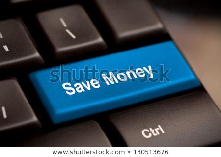 Megtakarítás kulcs hely belépés pénz billentyűzet Stock fotó © fuzzbones0