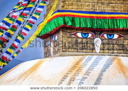 vermelho · tibete · topo · histórico · blue · sky · edifício - foto stock © mariusz_prusaczyk