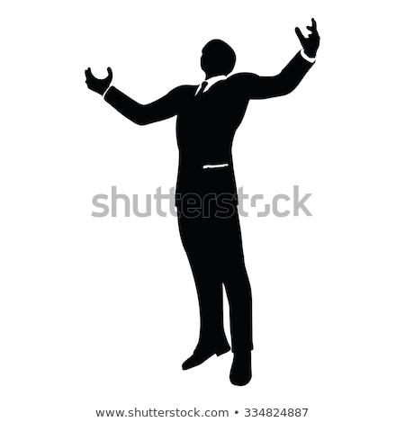 businessman silhouette in gorilla pose Stock photo © Istanbul2009