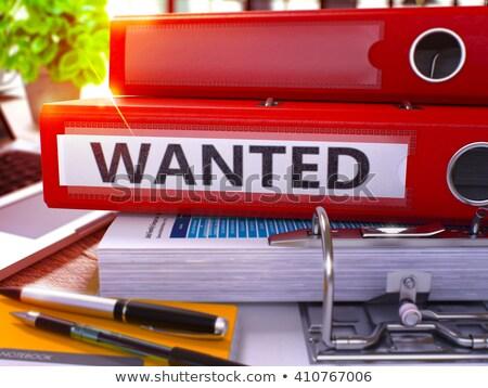 Piros gyűrű felirat keresett dolgozik asztal Stock fotó © tashatuvango