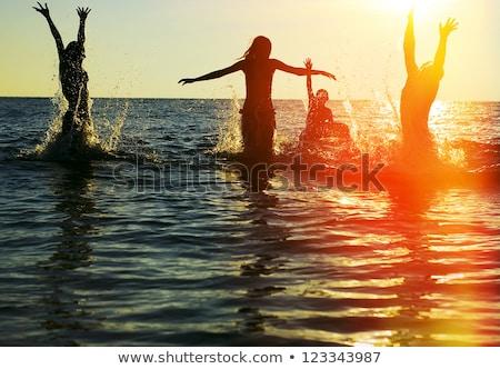 Foto stock: Silhueta · saltar · menina · água · mulher · dançar