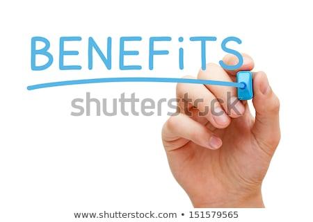 Alkalmazott előnyök kék jelző kéz ír Stock fotó © ivelin