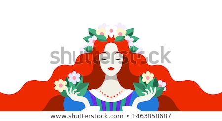 beautiful redhead woman with wreath from flowers on head stock photo © deandrobot