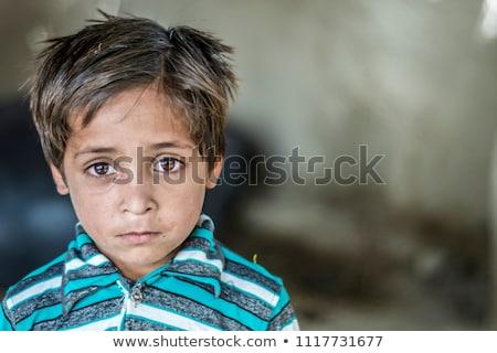 Porträt Armut wenig armen schmutzigen Junge Stock foto © zurijeta
