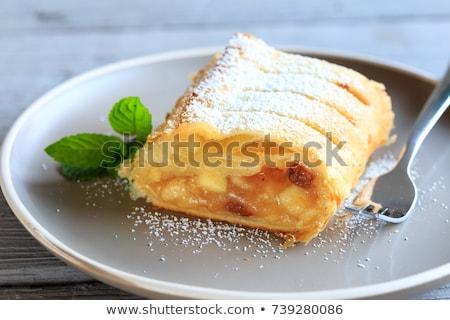 Jabłko plaster kubek kawy ciasto śniadanie Zdjęcia stock © Digifoodstock
