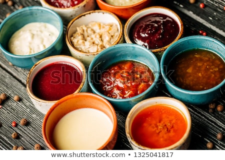 ソース ボウル クリーミー チーズ 皿 広場 ストックフォト © Digifoodstock