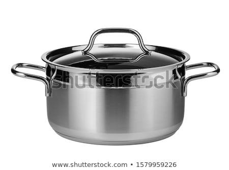 lábas · ezüst · izolált · fehér · üveg · étel - stock fotó © pakete
