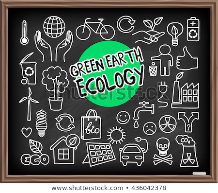 Groene aarde ecologie doodle ingesteld Stockfoto © pakete