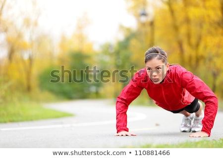 Stok fotoğraf: Genç · kadın · açık · havada · fotoğraf · dışında · kaldırım