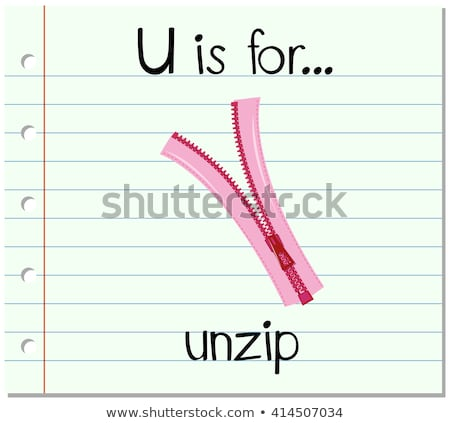 Flashcard letter U is for unzip Stock photo © bluering