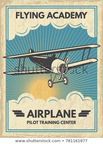 private aviation illustration retro poster Stock photo © tracer