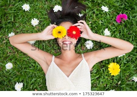 春 美しい 若い女性 ポーズ 曇った ストックフォト © iko