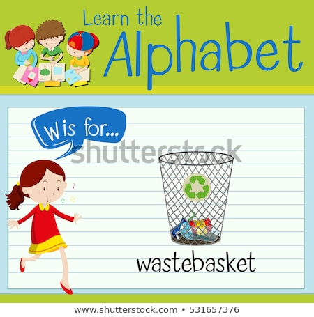 Flashcard letter W is for wastebasket Stock photo © bluering