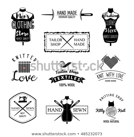 set of designed elements tailor shop theme male and femeale dress form dressmakers tools isolated stock photo © khabarushka