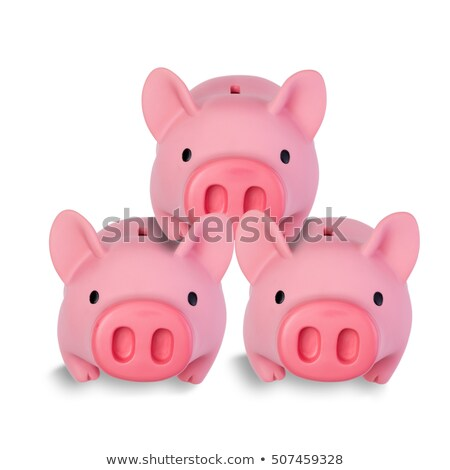 Stockfoto: Three Little Pig Coin Banks Stacked On Each Other