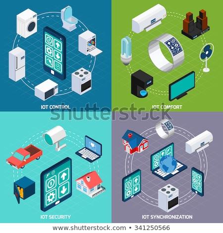Internet segurança isométrica praça banners ícones Foto stock © -TAlex-