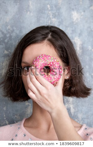 шоколадом · Sweet · красивая · женщина · рот · макроса · лице - Сток-фото © deandrobot