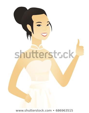 Verloofde duim omhoog jonge asian witte jurk Stockfoto © RAStudio