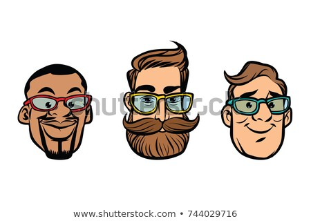Head stylish guys, hipsters, multi-ethnic group Stock photo © rogistok