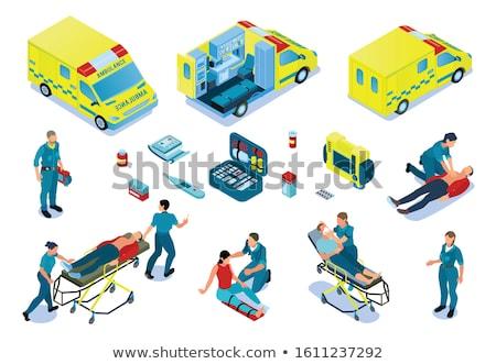 izometrikus · mentő · autó · 3D · felső · kilátás - stock fotó © genestro