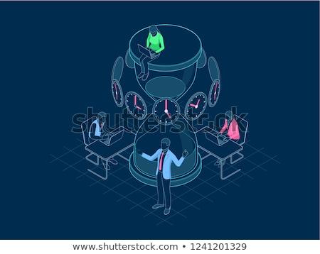 Negócio prazos corporativo empresário trabalhando mesa de escritório Foto stock © stokkete