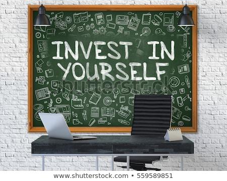 Zöld tábla kézzel rajzolt befektetés magad firka Stock fotó © tashatuvango