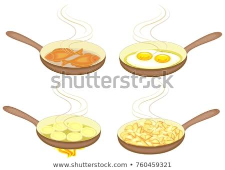 Кука картофеля огня сырой подсолнечного масла Сток-фото © romvo