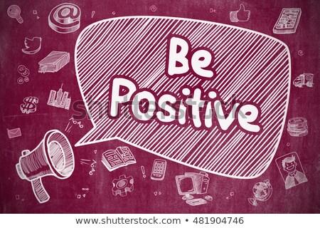 Pozitív firka illusztráció piros tábla szövegbuborék Stock fotó © tashatuvango