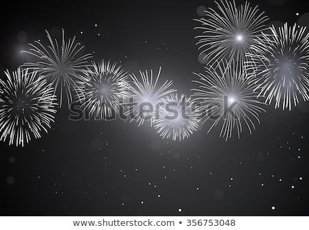 Foto stock: Bursting Fireworks Black And White