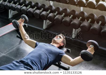 Póló nélkül férfi emel súlyzók pad crossfit Stock fotó © wavebreak_media