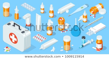 Stok fotoğraf: Cam · şişeler · hapları · şırınga · şişe · ilaçlar