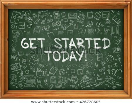 the future starts today   hand drawn on green chalkboard stock photo © tashatuvango