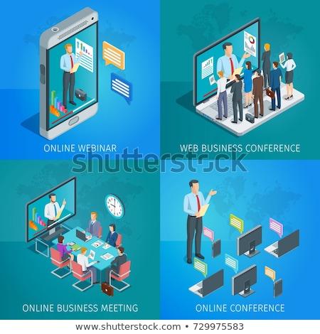 баннер онлайн подготовки вебинар люди слушать Сток-фото © Genestro